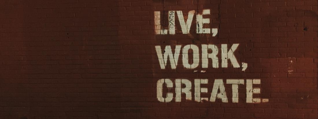 Mur avec live, work, create